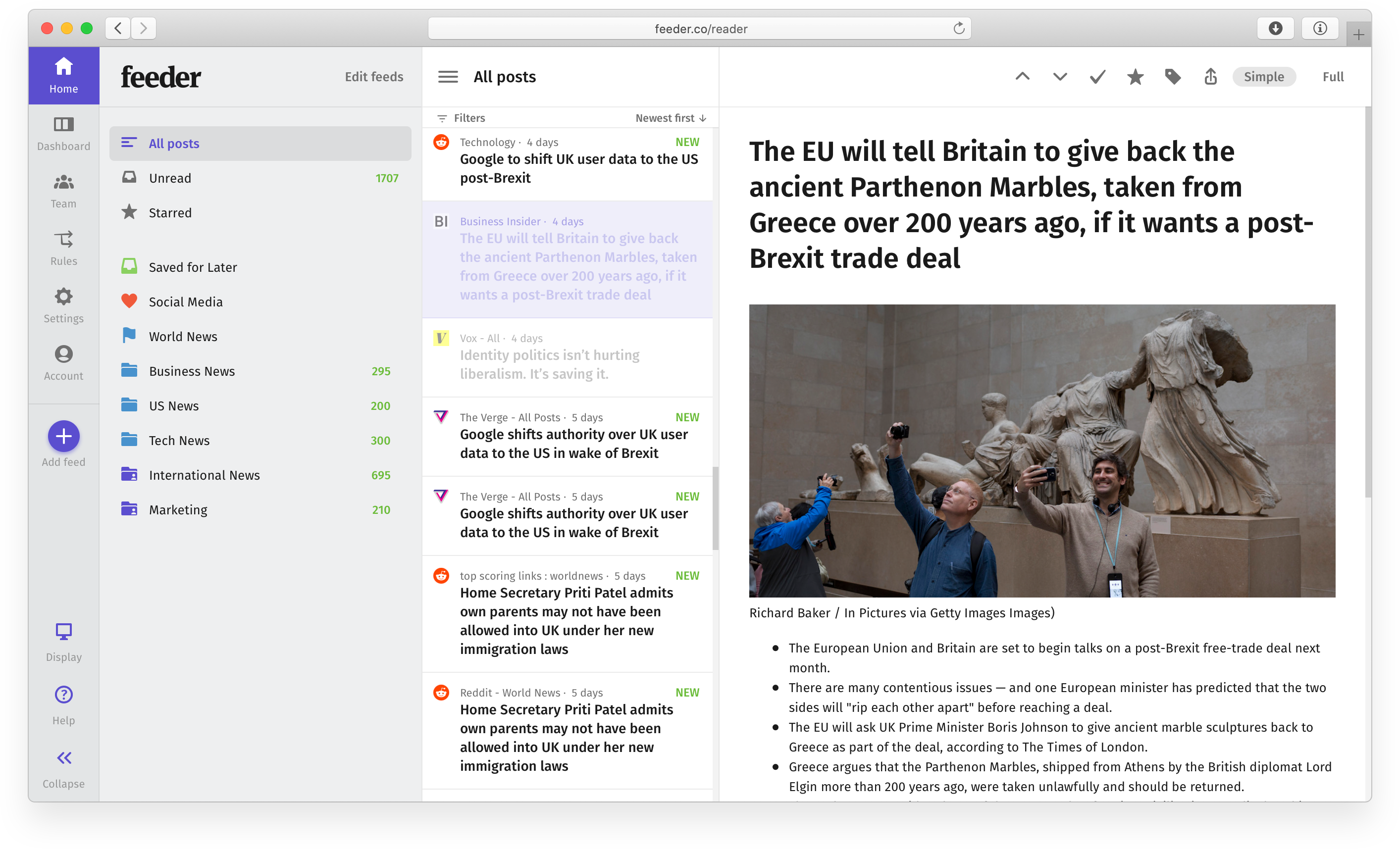Feeder News Manager App for Android and iOS